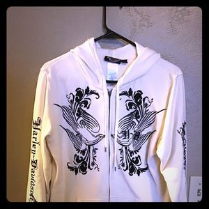 Harley Zip-up hoodie, size large off white